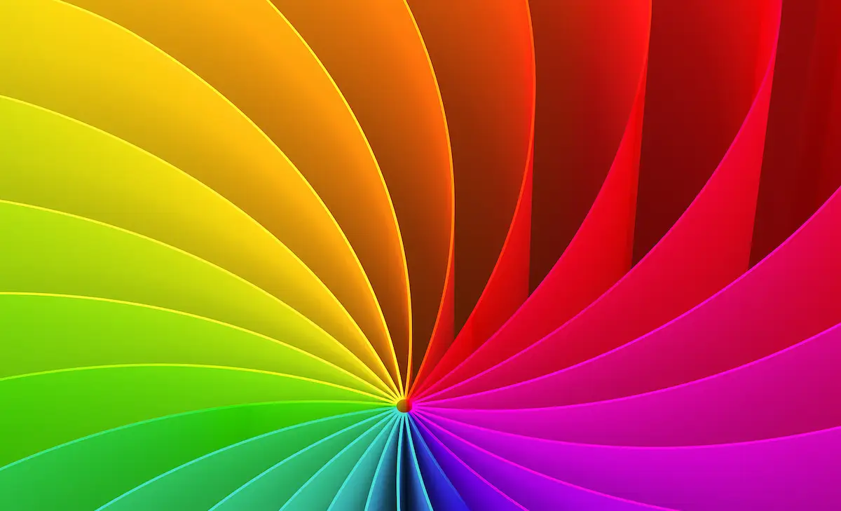 Wind wheel that shows different colours: Green, Yellow, Orange, Red, Pink, Purple, Blue, Mint