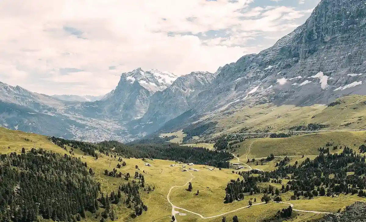 Swiss alpine valley with a wide view