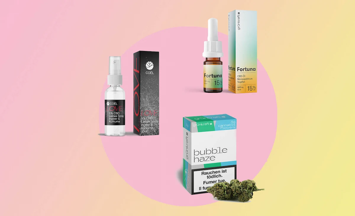 Overview image CBD products: Coel Love Spray, Fortuna Oil and Bud Box